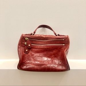 Alice + Olivia Alana Embossed Satchel Bag in Red